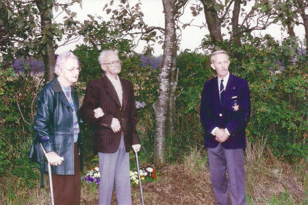 My grandparents and Ole Kraul at the memorial cross on the 50-th anniversary of the crash on 27 August 1994